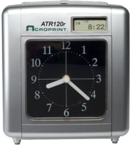 Acroprint 01-0212-002 Model ATR120R Electronic Time Clock with Built-in Battery Backup; Easy printing: insert the card in the top slot and the time clock will automatically position it, Print alignment is adjustable for fine-tuning; Weekly, bi-weekly, semi-monthly or monthly pay periods; Prints in minutes, hundredths, twentieths or tenths (010212002 010212-002 01-0212002)
