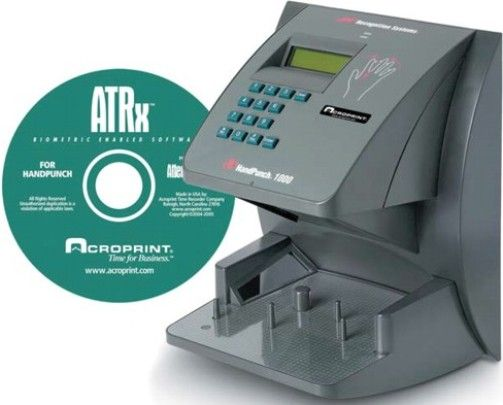Acroprint 01-0175-000 ATRx Biometric 1000 HandPunch and ATRx Biometric Enabled Software for 50 employees (able to upgrade to 100), Verification Time Less than 1 second, ID Number Length 1 to 10 digits, Baud Rate 1200-28.8 K bps, Biometric technology eliminates costly buddy punching and provides indisputable records of employees' attendance (010175000 010175-000 01-0175000)