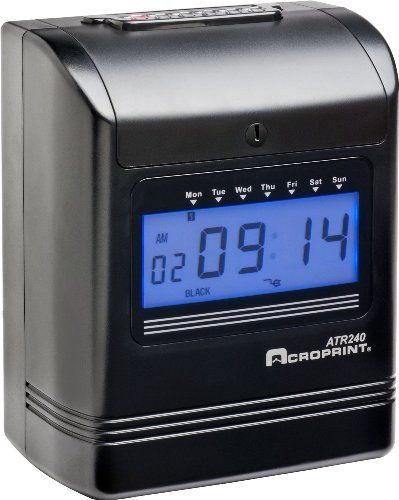 Acroprint 01-0270-001 Model ATR240 Top Loading Electronic Time Clock; Easy to program and simple to use; Bright, backlit digital display is easily readable, even from a distance; Supports weekly and monthly pay periods; Two-color printing identifies early and late punches in red for faster, more accurate payroll processing (010270001 010270-001 01-0270001 ATR-240 ATR 240)