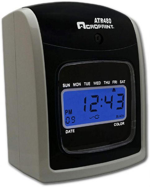 Acroprint 01-0285-001 Time Clock Bundle ATR480, LCD, Automatic, White Charcoal Color; Automatic card positioning for easy printing; Print alignment is adjustable for fine-tuning; Weekly, bi-weekly, semi-monthly or monthly pay periods; Supports job costing; Prints in AM/PM or military time; Choose between minutes or hundredths; UPC 033297199072 (ACROPRINT 010285001 01 0285 001 01-0285-001 ATR480)