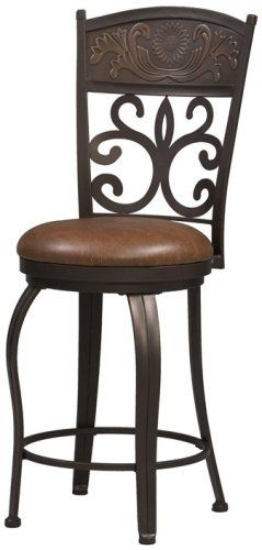 Linon 02610mtl 01 Kd U Carved Crown 30 Inch Bar Stool Antique