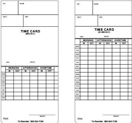 acroprint 09 1000 001 model t111 weeklybi weekly time card 250 cards in a pack - Bi Weekly Time Cards