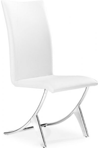 Zuo Modern 102102 Dining Chair Delfin Chrome Plated Steel Frame White Leatherette Seat And Back Unique Sy Design High 18 Height