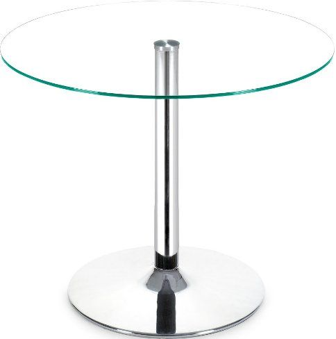 Zuo Modern 102151 Galaxy Round Dining Table With Chrome Base, Chrome Steel  Column And Base, Clear Tempered Glass Top, Circular Base, Modern Design, ...