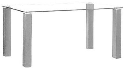 Zuo Modern 107803 Flag Dining Table In Silver, Tempered Glass Top,  Leatherette Stitched Legs
