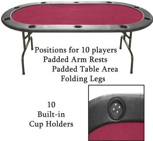 Trademark 10 ht1rd full size texas holdem burgundy felt for 10 player poker table top