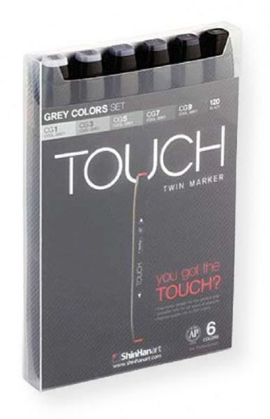 ShinHan Art 1100604 TOUCH Twin Grey Colors 6 Piece Marker Set; An advanced alcohol based ink formula that ensures rich color saturation and coverage with silky ink flow; The alcohol based ink doesnt dissolve printed ink toner, allowing for odorless, vividly colored artwork on printed materials; EAN 8809326960263 (1100604 MARKER-1100604 TOUCH-1100604 TWIN-1100604 SHINHANART1100604 SHIN-HAN-ART-1100604)