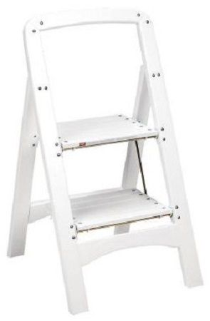 Cosco 11254wht1 White Two Step Rockford Wood Step Stool