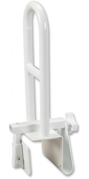 Drive Medical 12036  Steel Clamp on Tub Rail, White; Durable, white powder-coated steel construction is attractive and easy-to-clean; Stainless steel locking mechanism and non-wearing rubber pads provide scratch proof security; Handle design provides secure hand position; Width adjusts from 3 - 7; Fits most tubs (not for use with fiberglass tubs); UPC 822383102672 (DRIVEMEDICAL12036 DRIVE MEDICAL 12036)