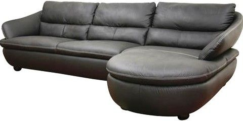 Wholesale Interiors 1252-M9812-Sofa/Chaise Bailey Black Leather Sectional Sofa 2-piece modern sectional sofa Contrasting stitching in white runs along ...  sc 1 st  SaleStores.com : wholesale leather sectionals - Sectionals, Sofas & Couches