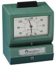 Acroprint 01-1070-400 model 125AR3 Manual Time Recorder, Records Day of week/hour/minutes, Automatic Minute, Hour, and Day Changes, Rust and Corrosion Proof, Automatic Ribbon Feed and Reverse to assure long ribbon use, Designed for wall, desk, or platform mounting, UPC 033297120106 (011070400 01 1070 400 125-AR3 125 AR3 125)