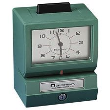 Acroprint 01-1070-411 model 125NR4 Manual Print Time Clock, Print Month, Date, 1-12 Hours and Minutes, Push bar activates stamping, Automatic Ribbon Feed and Reverse, Designed for Wall, Desk, or Platform Mounting, Registration on card or paper stock of any size, Rust and Corrosion Proof, UPC 033297120502 (125 125-NR4 125 NR4 011070411 11070411)