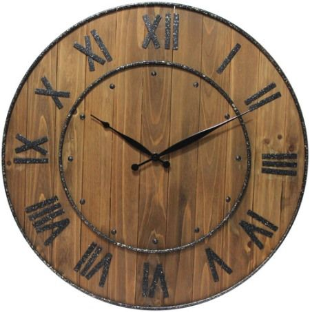 oval vintage wooden wall clock 60x45cm white with black roma