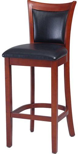 linon 19714chy 01 kd u vinyl back 30 inch bar stool cherry finish birch with bentwood veneers. Black Bedroom Furniture Sets. Home Design Ideas
