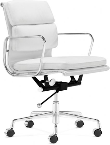 Showcase office chair in white contemporary modern style leather