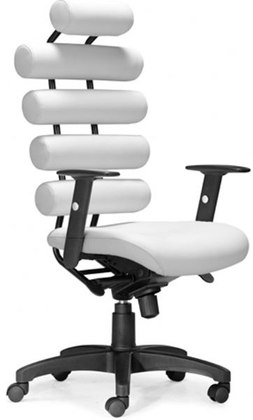 unico office chair. Zuo Modern 205051 Unico Office Chair In White, Four Cylindrical Cushion Back, Adjustable Armrests And Locking Tilt Rolling Base, Height Adjustable, H