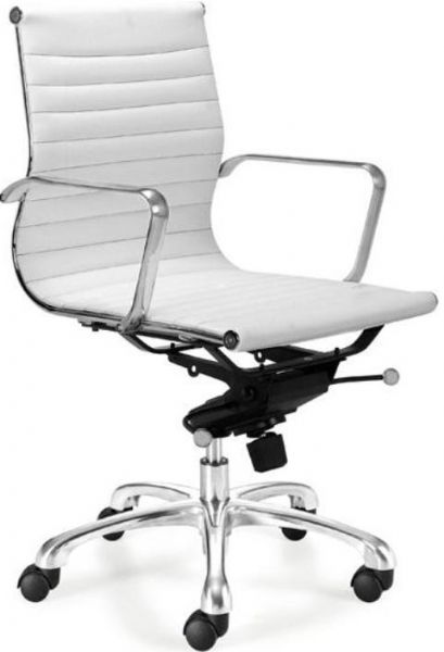 Black or White Leatherette Contemporary Swivel Chair at Furniture