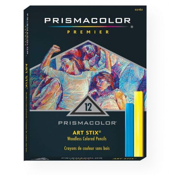 Prismacolor 2162 Art Stix 12-Color Set; Prismacolor pencil lead formula in a broad stroke medium; Leads are soft and thick for easy blending and shading; Smooth color laydown won't scratch or smear; Lightfast and moisture-proof, never need sharpening; Create broad strokes, thin strokes, and everything in between; UPC 070735021625 (PRISMACOLOR2162 PRISMACOLOR-2162 PRISMACOLOR-ART-STIX-2162 PAINTING DRAWING)