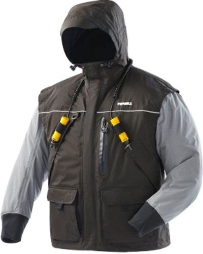 Frabill 2502031 Model I2 X-Large Jacket, Black/Heather Grey; Waterproof, windproof, breathable 300 denier nylon taslan shell, 100% seam sealed; 3M Thinsulate insulation, 150g; Self-rescue feature set: ice pick holsters, Frabill Ice Safety inter label drainage mesh; Self-Rescue ice pick set; Frabill ice fishing-specific ergonomic design; UPC 082271252319 (250-2031 2502-031 250 2031 I2JACKET)