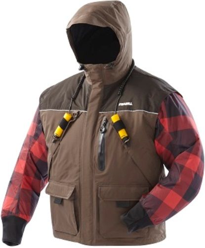 Frabill 2506011 Jacket I3 Medium Woodsman Brown; Waterproof, windproof, breathable 300 denier nylon taslan shell, 100% seam sealed; 3M Thinsulate insulation, 150g; Self-rescue feature set: ice pick holsters, Frabill Ice Safety inter label drainage mesh; Self-Rescue ice pick set; Frabill ice fishing-specific ergonomic design; UPC 082271256119 (250-6011 2506-011 250 6011 I3JACKET2)