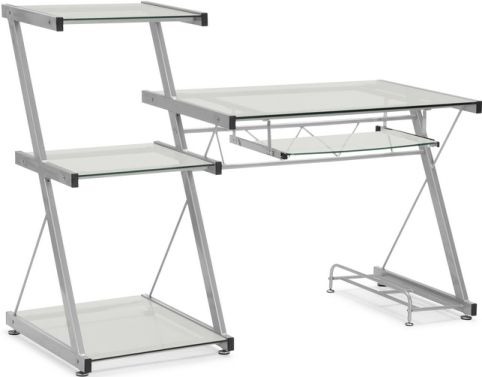 Zuo Modern 277000 Runner Desk Contemporary Style Glass Steel Material Collection Silver Coated Metal Frame