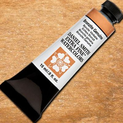 Daniel Smith 284600199 Extra Fine Watercolor 15ml Paint Tube, Bronzite Genuine; Highly pigmented and finely ground watercolors made by hand in the USA; Extra fine watercolors produce clean washes, even layers, and also possess superior lightfastness properties; Landscape artists rely on Aureolin to successfully glaze their watercolors; UPC 743162029068 (DANIELSMITH284600199 DANIELSMITH 284600199 DANIEL SMITH ALVIN PAINTER BRONZITE GENUINE)