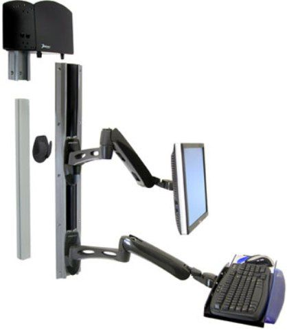 Ergotron 28-518-195 LX Wall Mount System with Medium CPU Holder, 24