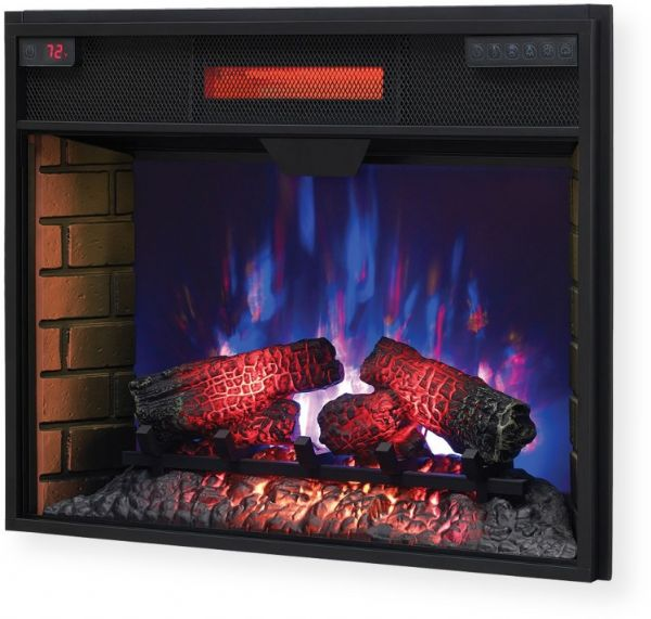 ClassicFlame 28II300GRA 28″ Infrared Quartz Electric Fireplace Insert with Safer Plug; Black; The infrared heat helps to maintain the natural humidity within the air, resulting in moist, comfortable heat without drying out the room's air; 5,200 BTU heater provides supplemental zone heating for up to 1,000 square feet; UPC 11768085866 (28II300GRA 28II300-GRA 28-II-300-GRA 28II300GRA-FIREPLACE 28II300GRA-INFRARED FIREPLACE-28II300GRA)