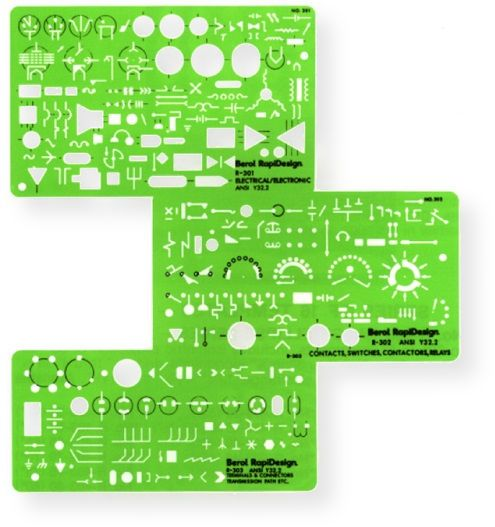 Rapidesign R300 Set Of Three Electrical And Electronic Templates Contains A Comprehensive Conforming To ANSI Y322 Drafting