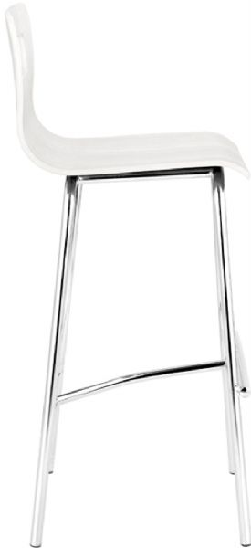 Zuo Modern 301232 Escape Barstool In White Contemporary Style Steel Wood Product Material Collection 30 Seat Height