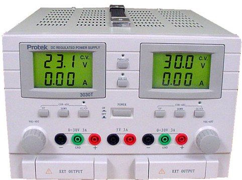 Protek 3030T Triple Output Power Supply, Dual 0-30V at 0-3A, Fixed 5V at 3A, Large LCD display with back light for displaying Voltage and Current settings, Outputs may be connected in series or parallel, Constant voltage and current selection switch, Excellent line and load regulation characteristics (3030T  Protek 3030T)