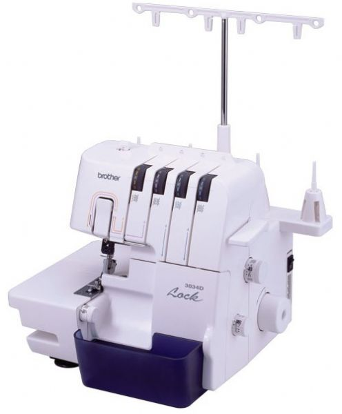 Brother 3034D Overlock Sewing Machine, Stitch Attributes Adjustable, Stitch Width Up to 7.0 mm, Stitch Length Up to 4.0 mm, Utility stitch functions � thread overlock blind hem rolled hem, Needle Threading System Manual auto lower looper threader (3034-D 3034 D 3034)