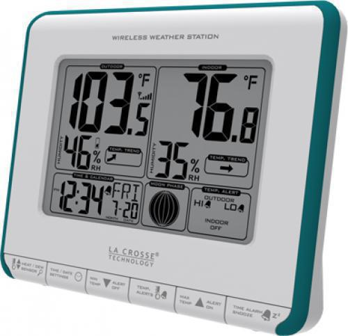 La Crosse Technology 308-1711BL Wireless Weather Station, Outdoor temperature (°F/°C), Signal strength icon for sensor transmission, Outdoor humidity (%RH), Outdoor temp. trend indicator, Indoor humidity (%RH), Indoor temperature (°F/°C), Indoor temp. trend indicator, 12/24 hr. time (manual setting), Calendar: month/day/date, wireless transmission range 300 Ft, UPC 757456985305 (3081711BL 308-1711BL)