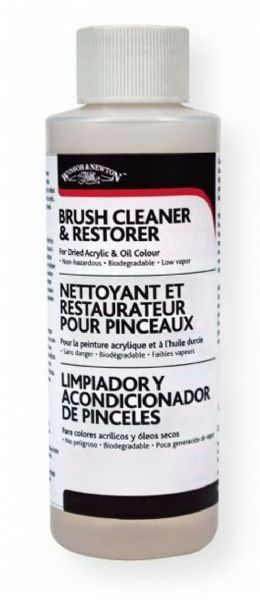 Winsor and Newton 3250895 Artists Brush Cleaner and Restorer 16oz; For dried acrylic, oil, and alkyd color; Non toxic, biodegradable, nonflammable, non abrasive, low vapor product that safely and easily cleans both natural and synthetic brushes without damage to the brush head; UPC 094376920239 (3250895 ARTISTS-3250895 CLEANER-3250895 RESTORER-3250895 WINSOR-AND-NEWTON3250895 WINSOR-AND-NEWTON-3250895)