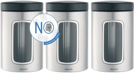 Window Canister (Set of 3), Matt Steel Fingerprint Proof with Black