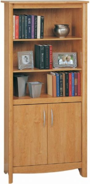 O Sullivan 40351 Two Door Library Bookcase Three Shelves Doors Conceal Storage Area With One Adjule Shelf Striking Design Finished In An Bank