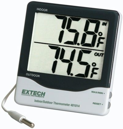 Extech 401014 Big Digit Indoor/Outdoor Thermometer, Large LCD displays 1