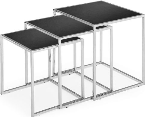Zuo Modern 401106 Pasos Nesting Tables In Black, Contemporary / Modern /  Glass Top Style, Glass / Steel Product Material, Pasos Product Collection,  ...