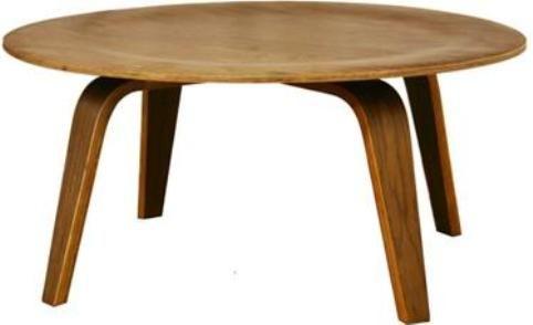Wholesale Interiors 4030 Walnut Harper Mid Century Black Modern Molded Plywood Coffee Table