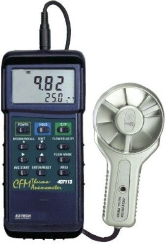 Extech 407113 Heavy Duty CFM Metal Vane Anemometer, Display Air Flow (CFM) or Air Velocity plus Temperature simultaneously, Air Flow displayed in 3 modes as an instantaneous value, up to 20 point average or 2/3 flow value, Super large (9999 count) LCD display, UPC 793950401132 (407-113 407 113)