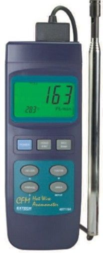 Extech 407119 Heavy Duty Hot Wire CFM Thermo-Anemometer, Air velocity measurements as low as 40ft/min, Telescoping probe is ideal for use in ducts and ventilating systems; extends up to 3ft (940mm) long, Built-in RS-232 PC interface with optional Data, UPC 793950401194 (407-119 407 119)