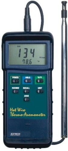 Extech 407123-NIST Heavy Duty Hot Wire Thermo-Anemometer with NIST Certificate, Telescoping probe ideal for measuring in HVAC ducts and other small vents; extends up to 4ft (1.22m) long, Built-in RS-232 PC serial interface for connection to PC, Alternative to 407117 407117NIST (407123NIST 407123 NIST 407-123 407 123)
