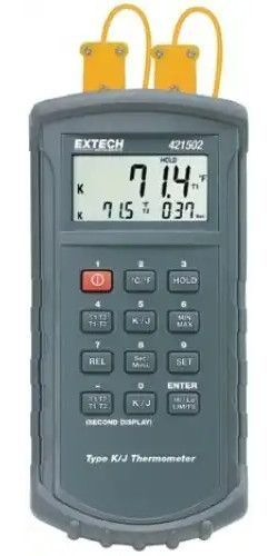Extech 421502-NIST J/K Dual Thermocouple Thermometer with NIST Certificate, Large multi-function 4-1/2 digit (20000 count) LCD, Resolution to 0.1° with basic accuracy of 0.05%, Selectable °C/°F units, water resistant housing (421502NIST 421502 NIST 421-502 421 502)