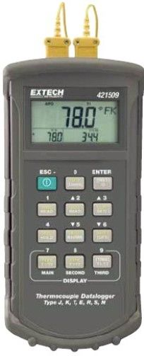 Extech 421509-NIST Dual Input Thermometer with NIST Certificate, Seven Thermocouple type selections: K, J, T, E, R, S, N, Large backlit LCD with two secondary displays for simultaneous T1, T2, T1-T2, Time and advanced readouts (421509NIST 421509 NIST 421-509 421 509)
