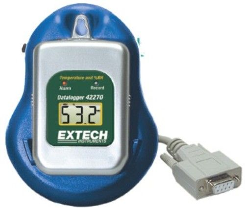 Extech 42265 Temperature Datalogger Kit with PC Interface, Temperature and Humidity Datalogger kit records up to 16000 readings (8000 readings for each parameter), Use in storage containers, shipping vans, freezers and more, Logs data for days, weeks or months, UPC 793950422656 (42-265 422-65)