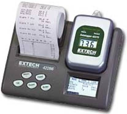 Extech 42266 Temperature Datalogger Programmer with Printer, Self standing battery operated programming unit and printer, Optional software package for programming and data download directly to a PC, Programming is performed through the 5 button control panel and integral LCD display (422-66 422 66)