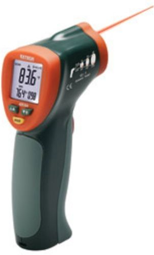 Extech 42510A Mini IR Thermometer 1200ºF (650ºC), 12:1 distance to target ratio, Compact thermometer measures temperature from -58 to 1200°F (-50 to 650°C) with 0.1° resolution up to 199.9°, Built-in laser pointer identifies target area, Data Hold and Min/Max, Overrange indicator, Auto power off, UPC 793950426104 (42510-A 42510 425-10 42-510)