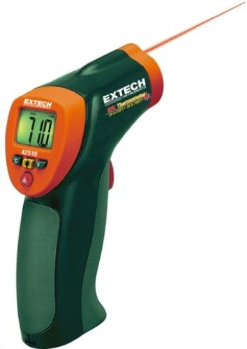 Extech 42510-NIST Wide Range Mini IR Thermometer with NIST Certificate, Compact thermometer with wide temperature range from -58 to 1000°F (-50 to 538°C), Audible and visible overrange indicators, Built-in laser pointer identifies target area (42510NIST 42510 NIST 42-510 425-10)