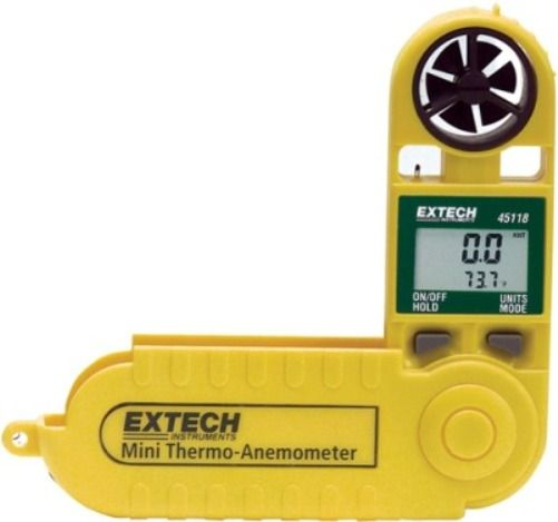 Extech 45118 Mini Thermo-Anemometer with Temperature, Fold up protective housing extends to 9