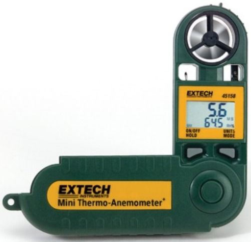 Extech 45158 Mini Thermo-Anemometer with Temperature & Humidity, Dual display of air velocity and relative humidity, Measures RH from 10% to 95%, Measure Dew Point from 32ºF to 122ºF, Fold up protective housing extends to 9